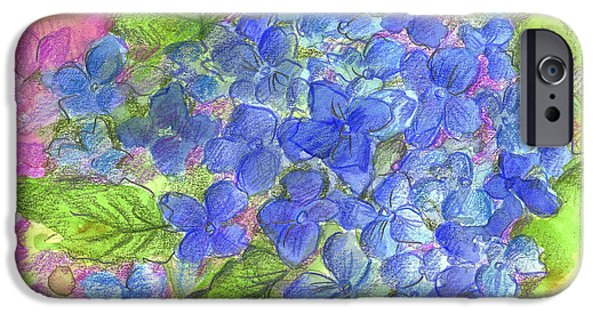Flora Drawings iPhone Cases - Blue Hydrangea iPhone Case by Cathie Richardson