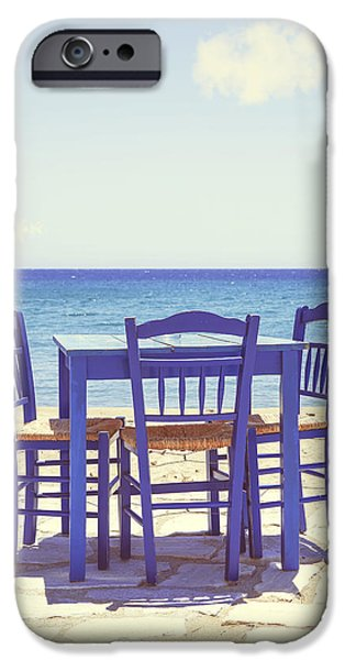 Chair iPhone Cases - Blue iPhone Case by Joana Kruse