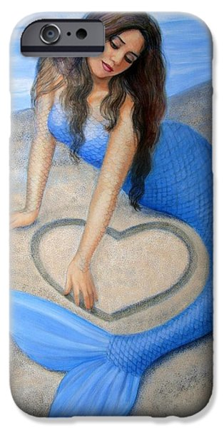Female Paintings iPhone Cases - Blue Mermaids Heart iPhone Case by Sue Halstenberg