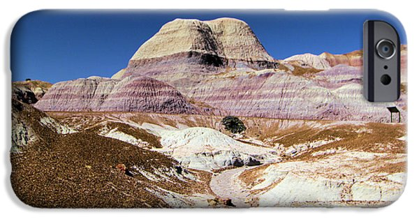 Petrified Forest Arizona iPhone Cases - Blue Mesa Tower iPhone Case by Adam Jewell