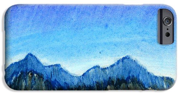 Mountain Pastels iPhone Cases - Blue Mountains iPhone Case by Hakon Soreide