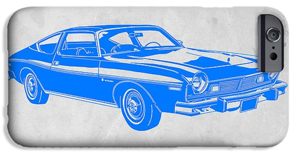 Modernism iPhone Cases - Blue Muscle Car iPhone Case by Naxart Studio