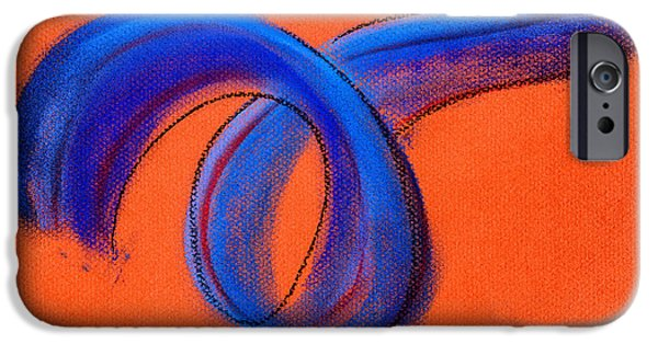 Abstract Expressionism Pastels iPhone Cases - Blue Ribbon iPhone Case by Hakon Soreide