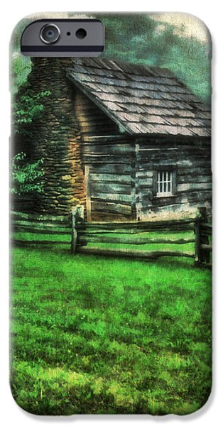 Cabin Window iPhone Cases - Blue Ridge Cabin iPhone Case by Darren Fisher