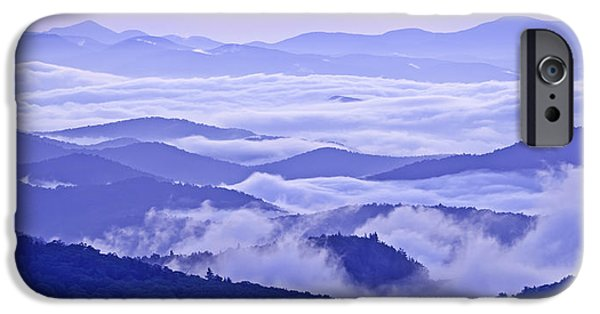 Cloudscape Photographs iPhone Cases - Blue Ridge Morning Panorama iPhone Case by Rob Travis
