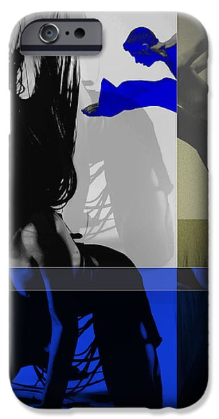 Young Digital Art iPhone Cases - Blue Romance iPhone Case by Naxart Studio