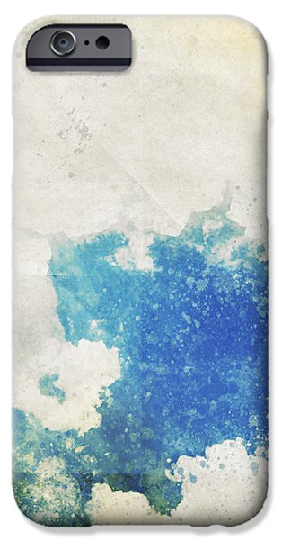 Torn iPhone Cases - Blue Sky And Cloud On Old Grunge Paper iPhone Case by Setsiri Silapasuwanchai
