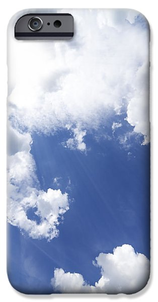 Beautiful Autumn Day iPhone Cases - Blue Sky And Cloud iPhone Case by Setsiri Silapasuwanchai