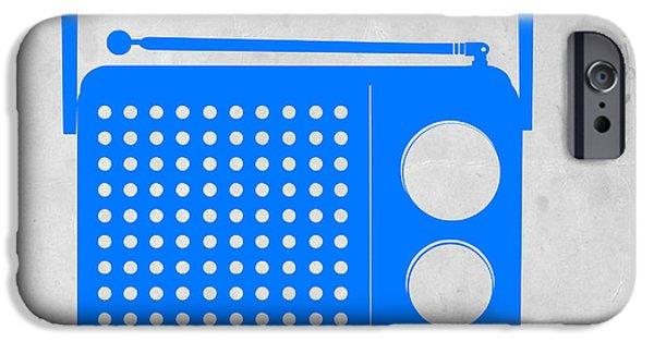 Midcentury iPhone Cases - Blue transistor radio iPhone Case by Naxart Studio