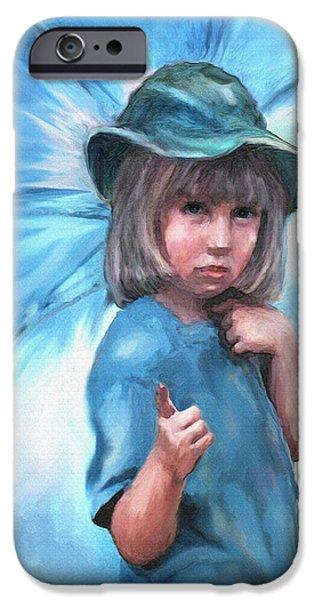 Little Girl iPhone Cases - Blue Umbrella iPhone Case by Jane Schnetlage