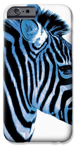 Blue zebra art iPhone Case by Rebecca Margraf