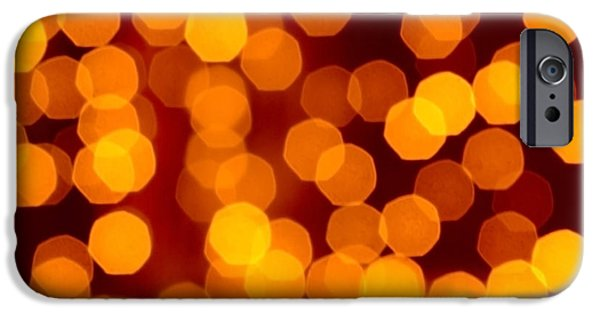Orange iPhone Cases - Blurred Christmas Lights iPhone Case by Carlos Caetano