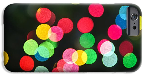 Blurred iPhone Cases - Blurred Christmas lights iPhone Case by Elena Elisseeva