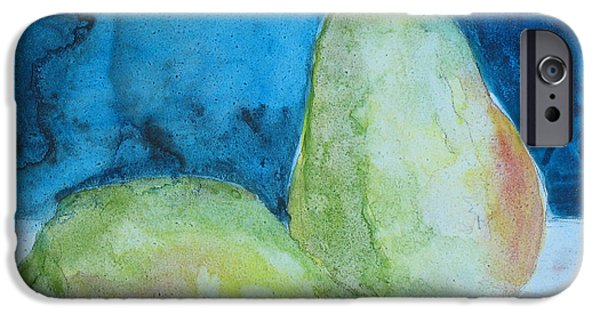 Pears Mixed Media iPhone Cases - Blushing Pears iPhone Case by Jenny Armitage