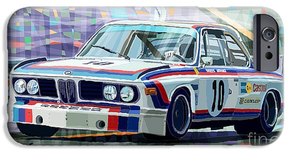 Classic Racing Car iPhone Cases - BMW 3 0 CSL 1st SPA 24hrs 1973 Quester Hezemans iPhone Case by Yuriy  Shevchuk
