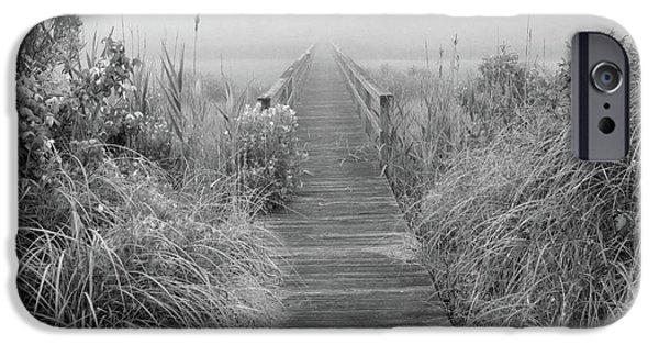 Fog Mist iPhone Cases - Boardwalk in Quogue Wildlife Preserve iPhone Case by Rick Berk