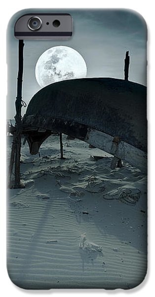 Boat and moon iPhone Case by MotHaiBaPhoto Prints