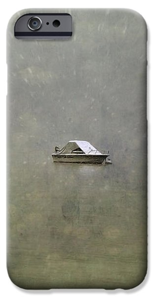 boat in the snow iPhone Case by Joana Kruse