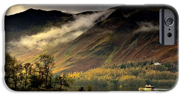Nature Scene iPhone Cases - Boat On Lake Derwent, Cumbria, England iPhone Case by John Short
