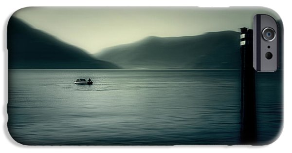 Ascona iPhone Cases - boat on the Lake Maggiore iPhone Case by Joana Kruse