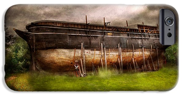 Suburbanscenes iPhone Cases - Boat - The construction of Noahs Ark iPhone Case by Mike Savad