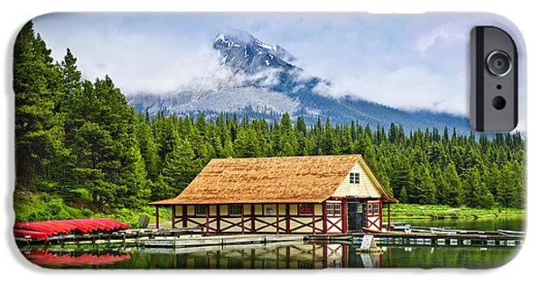 Historic Site iPhone Cases - Boathouse on mountain lake iPhone Case by Elena Elisseeva