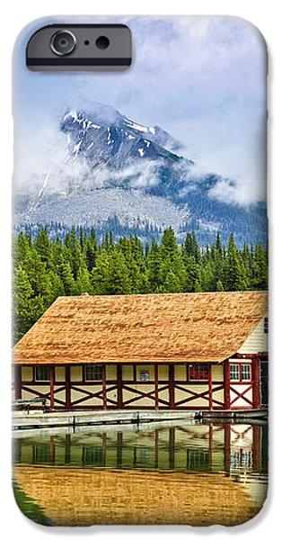 Boathouse on mountain lake iPhone Case by Elena Elisseeva