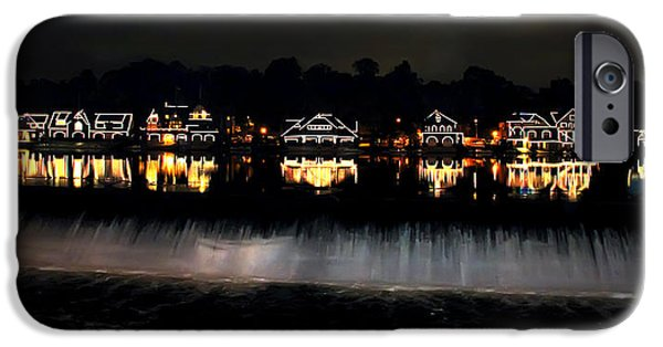 Boathouses iPhone Cases - Boathouse Row After Dark iPhone Case by Bill Cannon