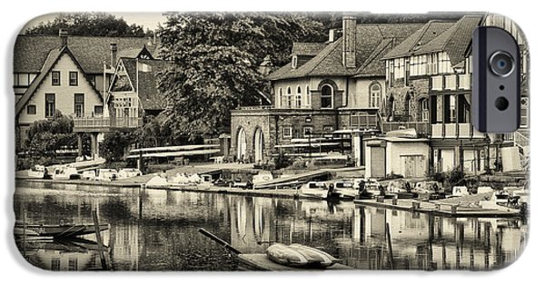 Boathouses iPhone Cases - Boathouse Row in Sepia iPhone Case by Bill Cannon