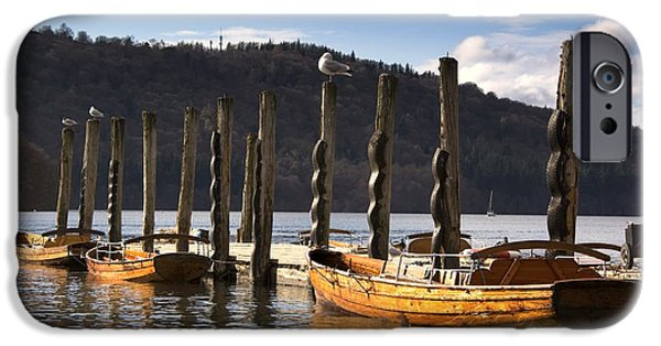 Boats At The Dock iPhone Cases - Boats Docked On A Pier, Keswick iPhone Case by John Short