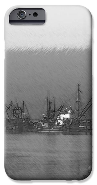 Boats in Harbor Charcoal iPhone Case by Chalet Roome-Rigdon