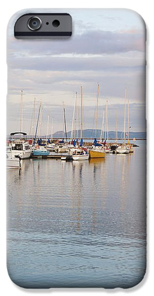 Boats In The Harbour At Sunset Thunder iPhone Case by Susan Dykstra