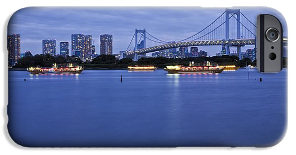 Man Made Space iPhone Cases - Boats In Tokyo Bay With Rainbow Bridge iPhone Case by Bryan Mullennix