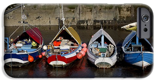 North Sea iPhone Cases - Boats Moored To Dock, Amble iPhone Case by John Short