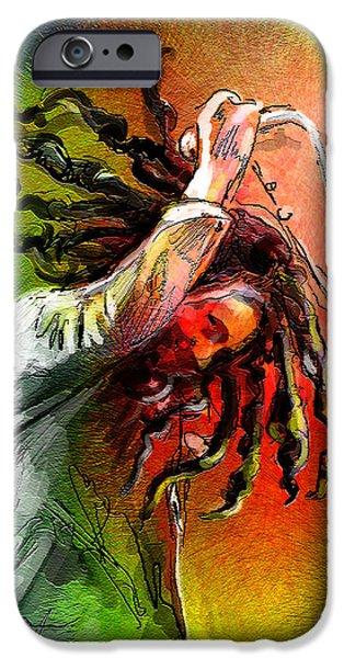 Reggae Music Art iPhone Cases - Bob Marley 07 iPhone Case by Miki De Goodaboom