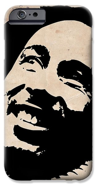 Bob Marley Portrait iPhone Cases - Bob Marley Grey and Black iPhone Case by Naxart Studio