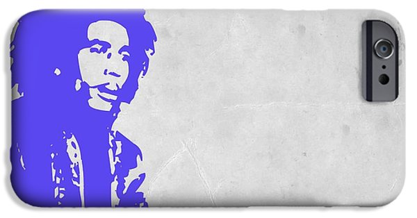 Bob Marley Portrait iPhone Cases - Bob Marley Purple 3 iPhone Case by Naxart Studio