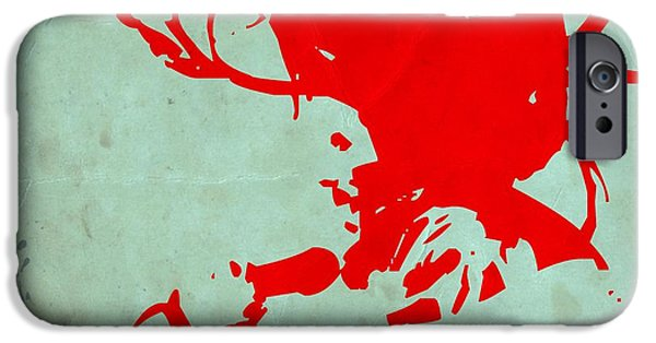 Jamaican Paintings iPhone Cases - Bob Marley Red iPhone Case by Naxart Studio