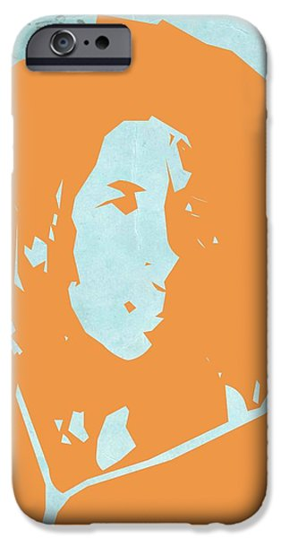 Bob Marley Portrait iPhone Cases - Bob Marley Yellow 2 iPhone Case by Naxart Studio