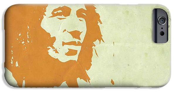 Bob Marley Portrait iPhone Cases - Bob Marley Yellow 3 iPhone Case by Naxart Studio