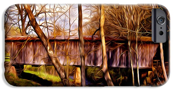Covered Bridge Mixed Media iPhone Cases - Bob White Covered Bridge iPhone Case by Lisa and Norman  Hall