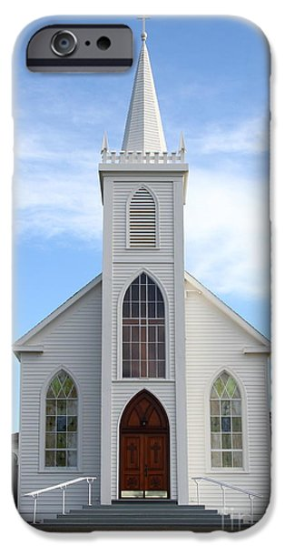 Bodega Bay iPhone Cases - Bodega Catholic Church . Bodega Bay . Town of Bodega . 7D12438 iPhone Case by Wingsdomain Art and Photography