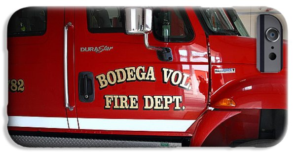 Bodega Bay iPhone Cases - Bodega Volunteer Fire Department Fire Engine . Bodega Bay . Town of Bodega . California . 7D12459 iPhone Case by Wingsdomain Art and Photography