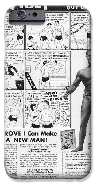 Strong America iPhone Cases - Body-building Ad, 1962 iPhone Case by Granger