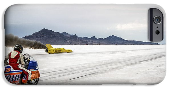 Racing Photographs iPhone Cases - Bonneville Speed Week 2012 iPhone Case by Holly Martin