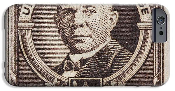 Booker T. iPhone Cases - Booker T Washington postage stamp iPhone Case by James Hill