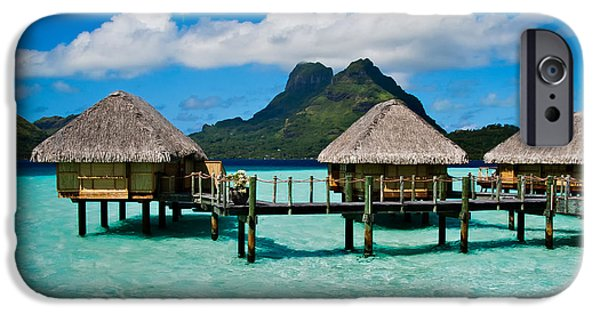Hut iPhone Cases - Bora Bora Bunaglows iPhone Case by Doug Sturgess