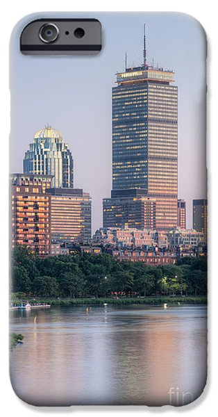 Charles River iPhone Cases - Boston Night Skyline III iPhone Case by Clarence Holmes