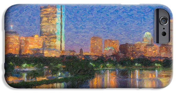 Charles River iPhone Cases - Boston Night Skyline Impasto iPhone Case by Clarence Holmes