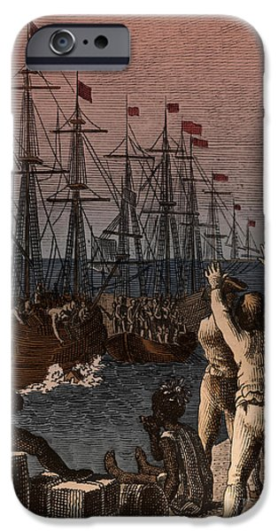 Tea Party iPhone Cases - Boston Tea Party, 1773 iPhone Case by Photo Researchers